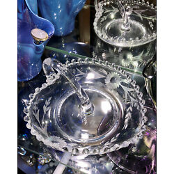 Vintage Hobnail Etched Flower Clear Cut Glass , Glass Heart Shaped Dish Exc Cond