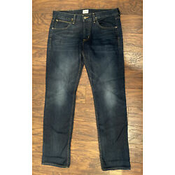 Mens Hudson BYRON 5 Pocket Straight Button Fly Jeans 34x33