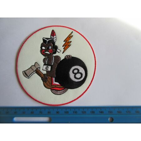 img-Bomb Squadron Indian Infantry 8 Ball Patch Airforce Pilots A2 G1 Jacket US Army
