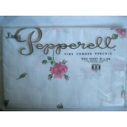 Vintage Lady Pepperell Fine Combed Percale One Sheet Pink Roses 81 x 108 New