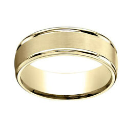 10K Yellow Gold 7mm Comfort-Fit Satin Finish High Polished Band Ring Sz-13