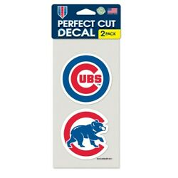 Chicago Cubs 4'' x 4'' Perfect Cut Decal Set of 2