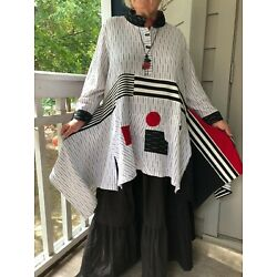 Wearable Art Lagenlook Bohemian Patchwork Asymmetrical Upcycled  Stripe Tunic