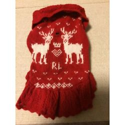 RALPH LAUREN Dog Sweater Pet Clothes Red Size/XS F/S From JAPAN
