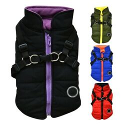 Pet Dog Vest Jacket Cold Weather Coat Harness Winter Outfit Warm Padded Jacket