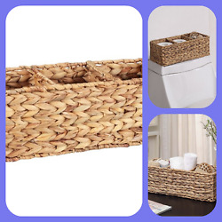 Woven Water Hyacinth Tank Basket Organize & Tidy up Any Space Your Home, Natural