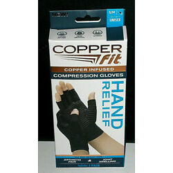 Copper Fit Hand Relief Compression Gloves, New size S/M