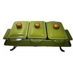 Vintage Fire King Chafing Serving Dish Triple Compartment Complete Avocado Green