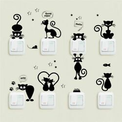 Light Switch Wall Stickers Cute Cat Kids Room Decor Home Decals Phone Decoration