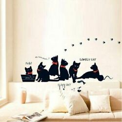 Vinyl Wall Stickers Black Cat Family Wallpaper House Decor Living Room Decals