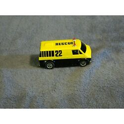 TYCO DODGE RESCUE VAN YELLOW/BLACK # 22  SLOT CAR DRIVES BUT DOES NOT LIGHT UP