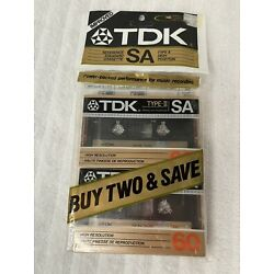 2 Pack TDK SA60 SA 60 Type II High Position Recording Cassette Tapes BRAND NEW!
