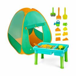 UNIH Kids Sand and Water Table with Play Tent, Toddler Beach Toys Set with Te...