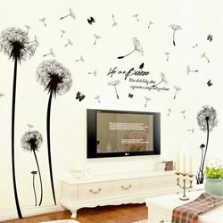 Dandelion Stickers Flying Flower Wall Decal Plant Tattoo Flies Grass Background