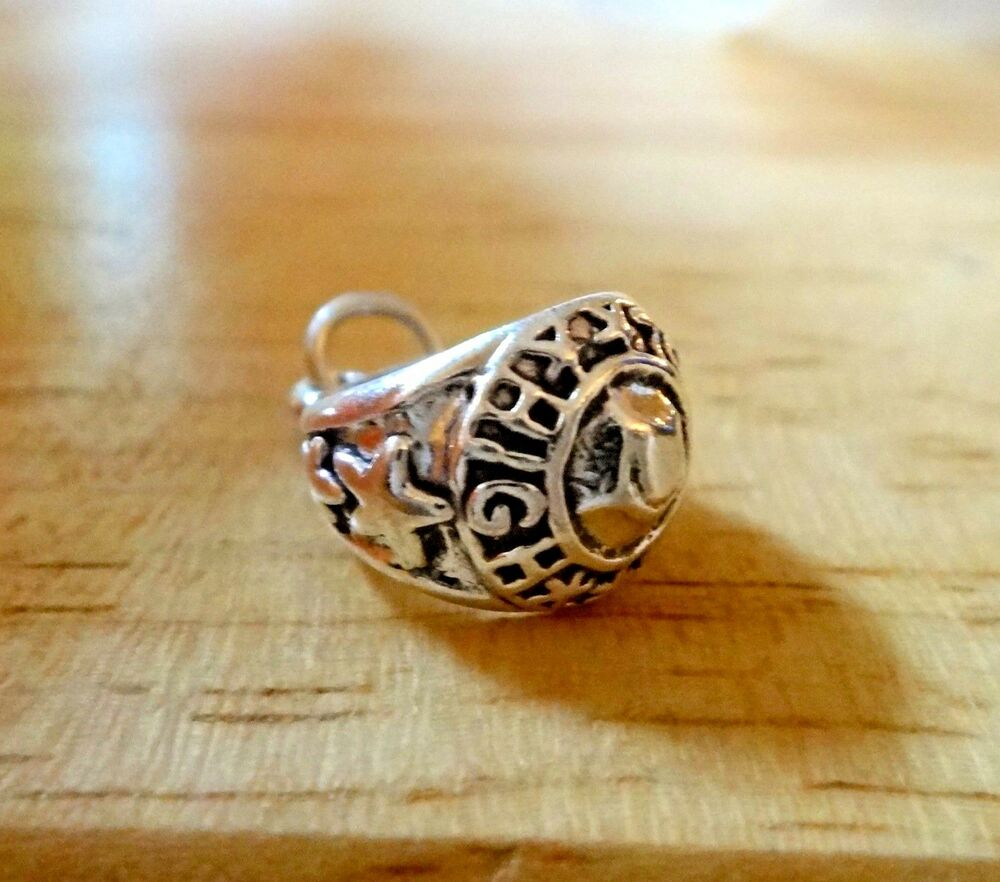 sterling silver 16x13x9mm class ring says high school on
