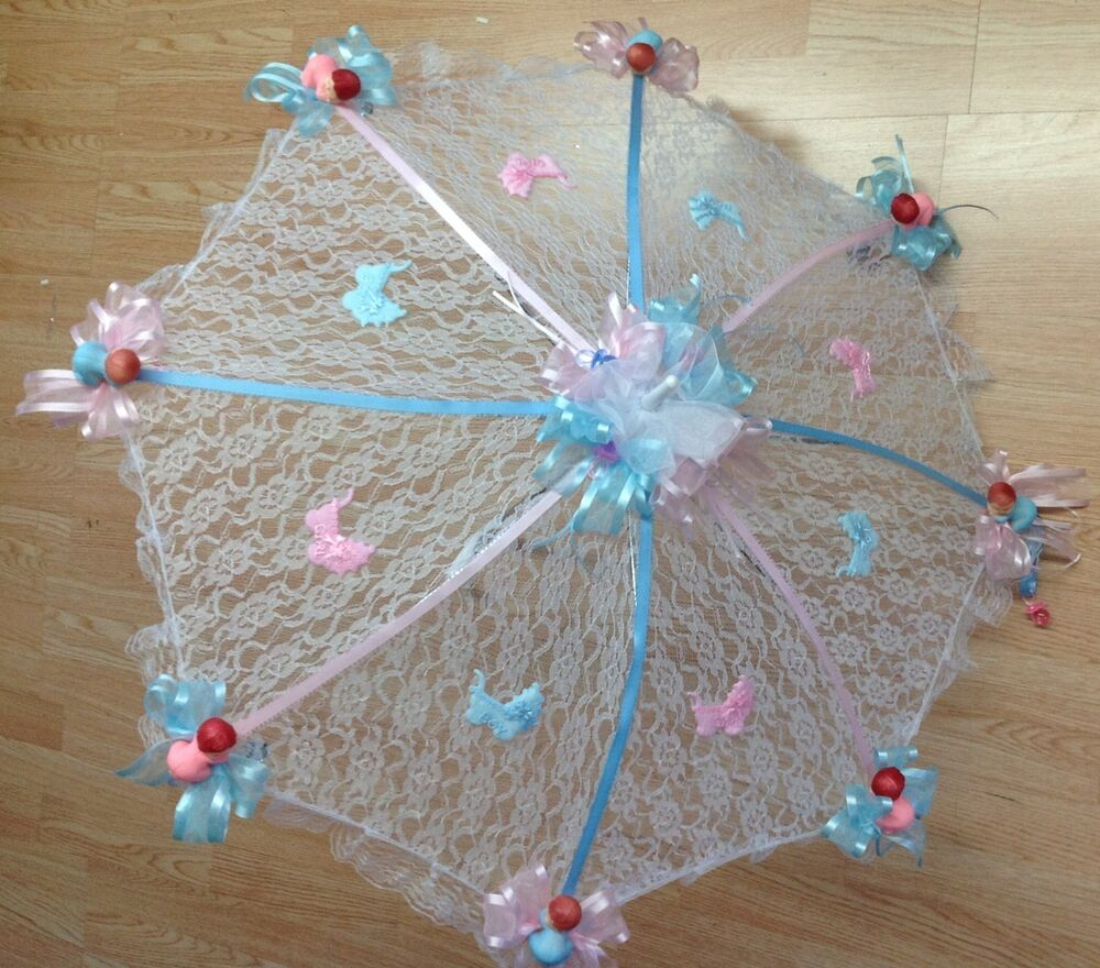 32 Quot White Lace Baby Shower Umbrella Pink Amp Blue Ebay