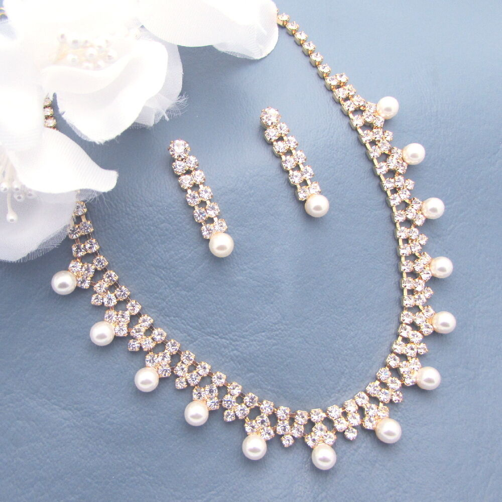 Pearl Necklace Set Bridal Wedding Bridesmaid Gift Jewelry Crystal Gold ...