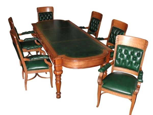 american oak conference table and chairs 702 ebay. Black Bedroom Furniture Sets. Home Design Ideas