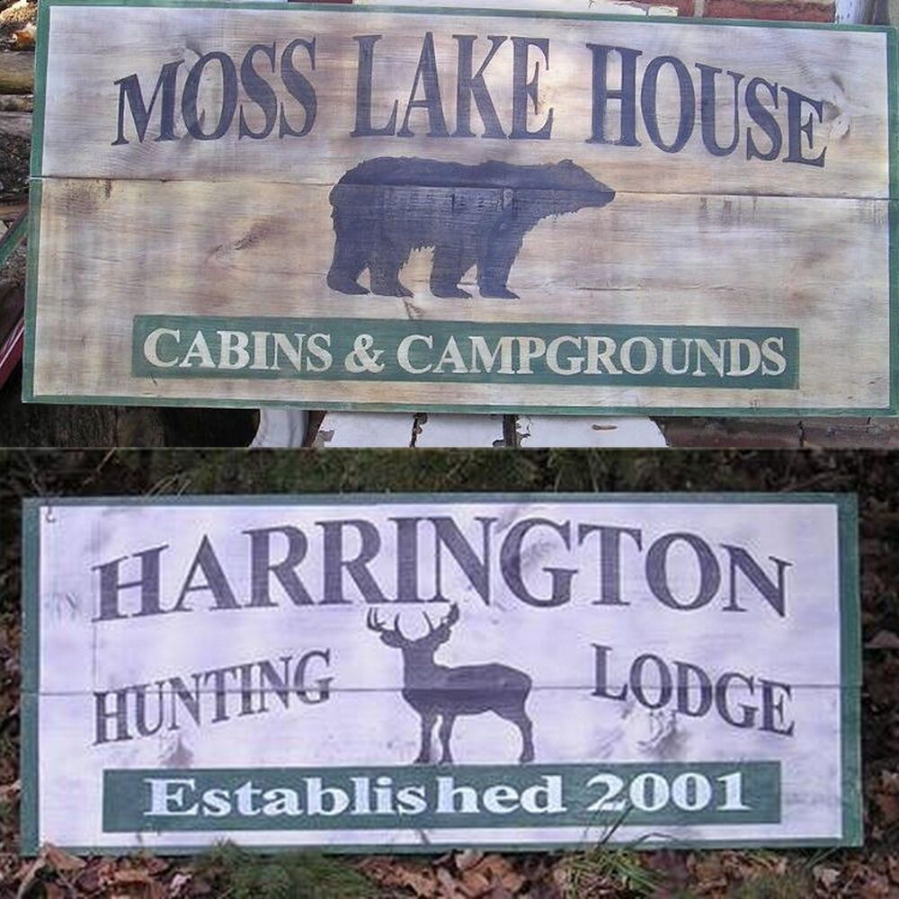 Large custom personalized lodge cabin wood sign ebay for Cabin signs wood