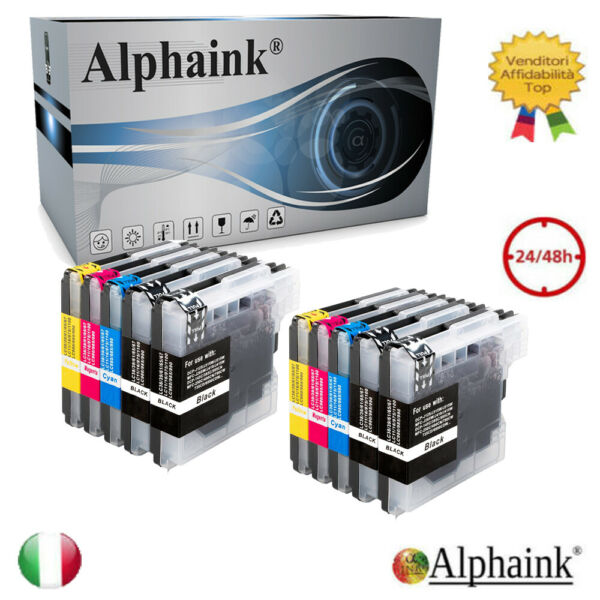 10 Cartucce per Brother LC980 LC1100 DCP 145C 165C 185C MFC250C MFC250 MFC290