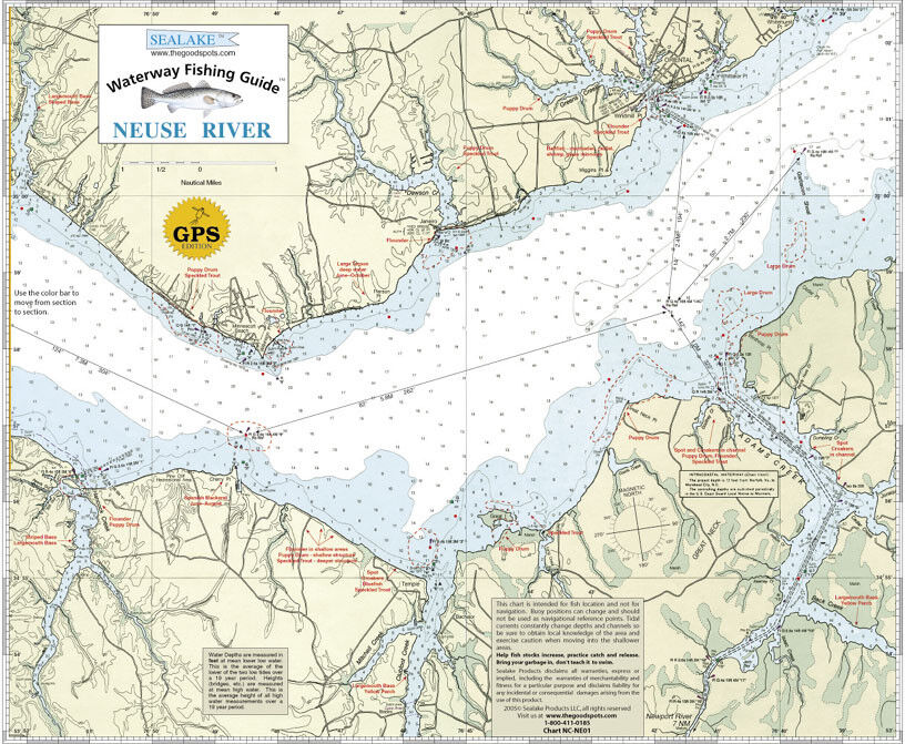 Sealake north carolina neuse river fishing map chart ebay for New river nc fishing