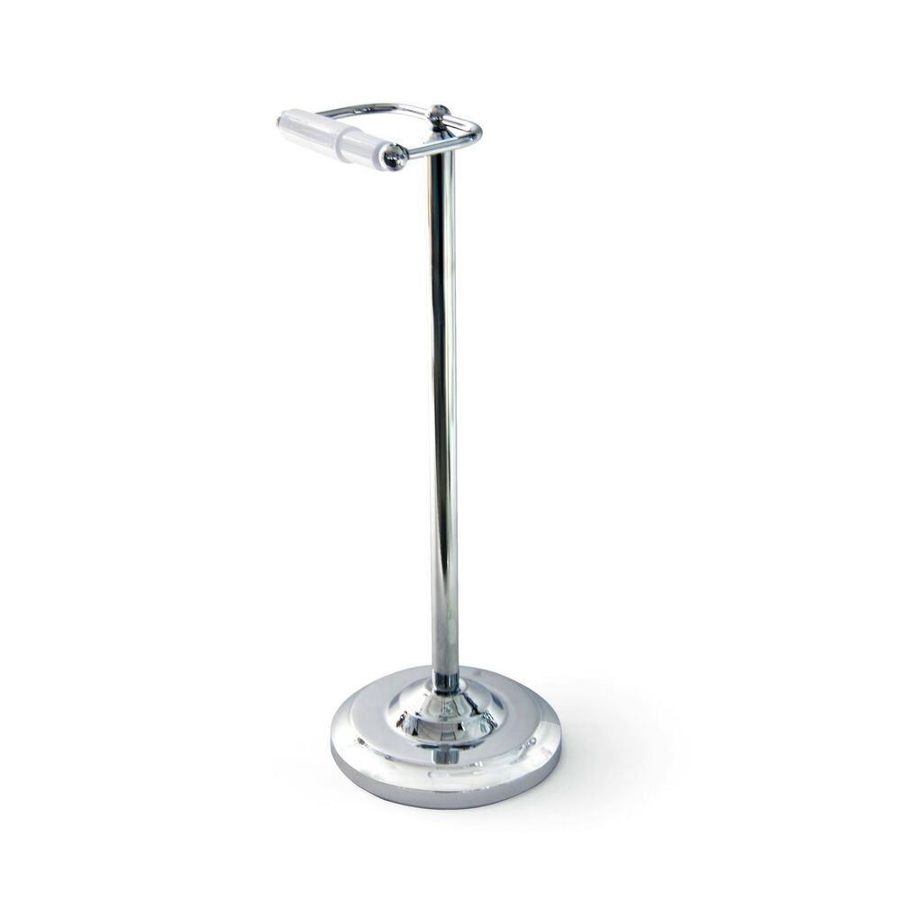 Toilet Paper Roll Holder Stand Chrome Plated Floor