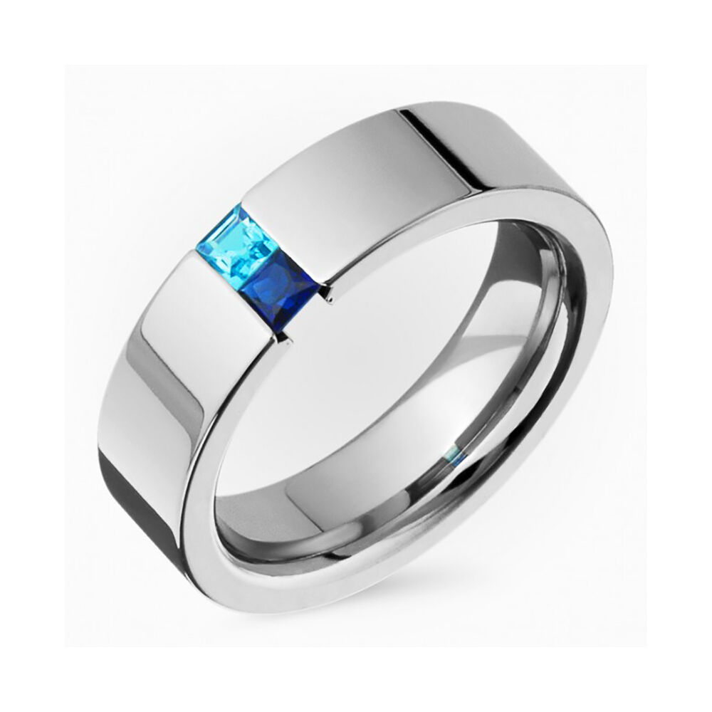Genuine Sapphire Ring N Blue Topaz Titanium Tension Set Wedding Band 4 Him Her