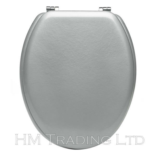 18 MDF WOODEN TOILET SEAT SILVER WOOD LID COVER UNIVERSAL STANDARD SIZE