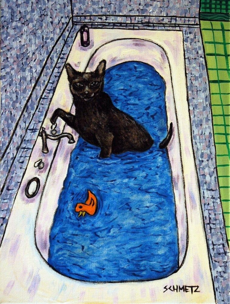 bombay black cat bathroom art signed print animals 11x14 gift new