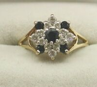 9ct Gold Sapphire & Cubic Zirconia Cluster Ring
