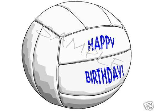 Edible Cake Image - Volleyball - Happy Birthday! - Cir