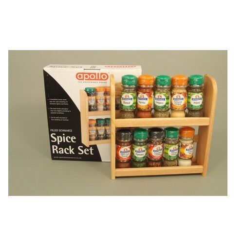 Wooden spice rack with 10 piece spices jars free stand or wall mounted kitchen ebay - Wall mounted spice racks for kitchen ...