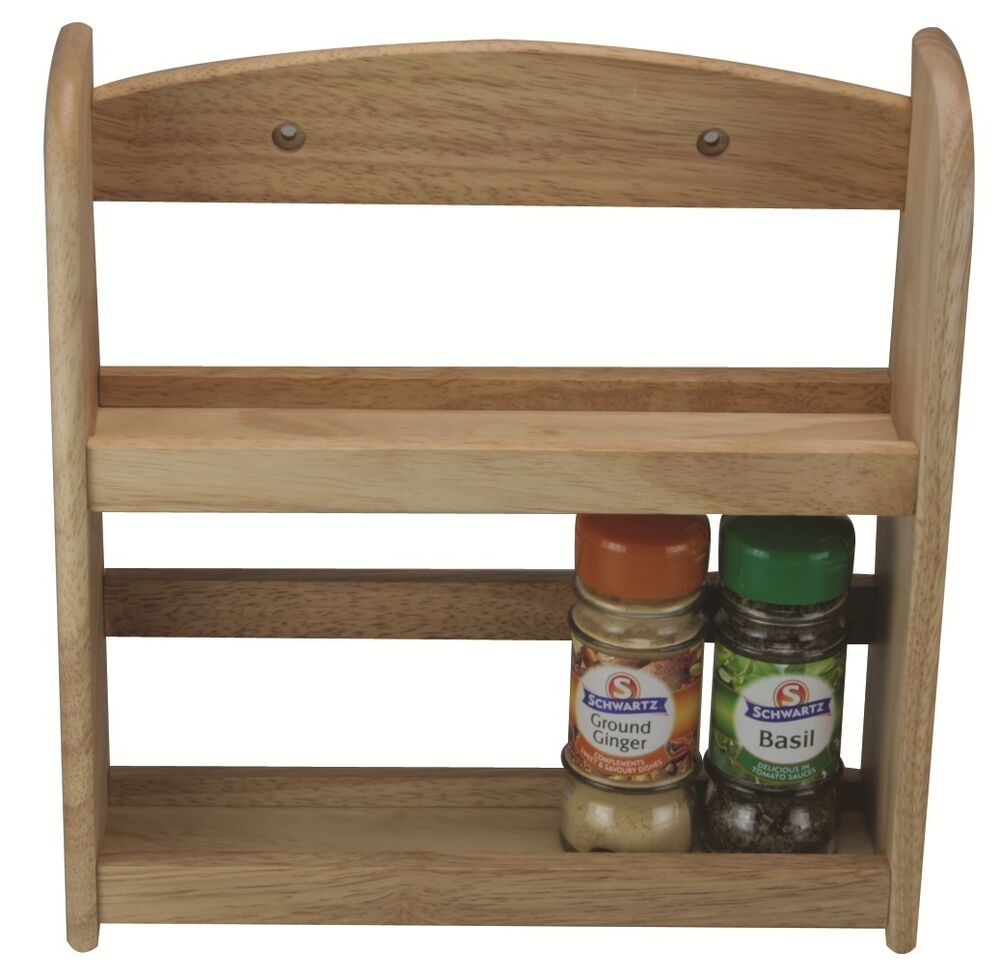 Woodworking Plans For Kitchen Spice Rack: Natural Solid Wood 2 Tier Spice Herb Jar Bottle Rack Stand