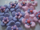 36 CAKE TOPPERS EDIBLE CUPCAKE FLOWERS BIRTHDAY PURPLE
