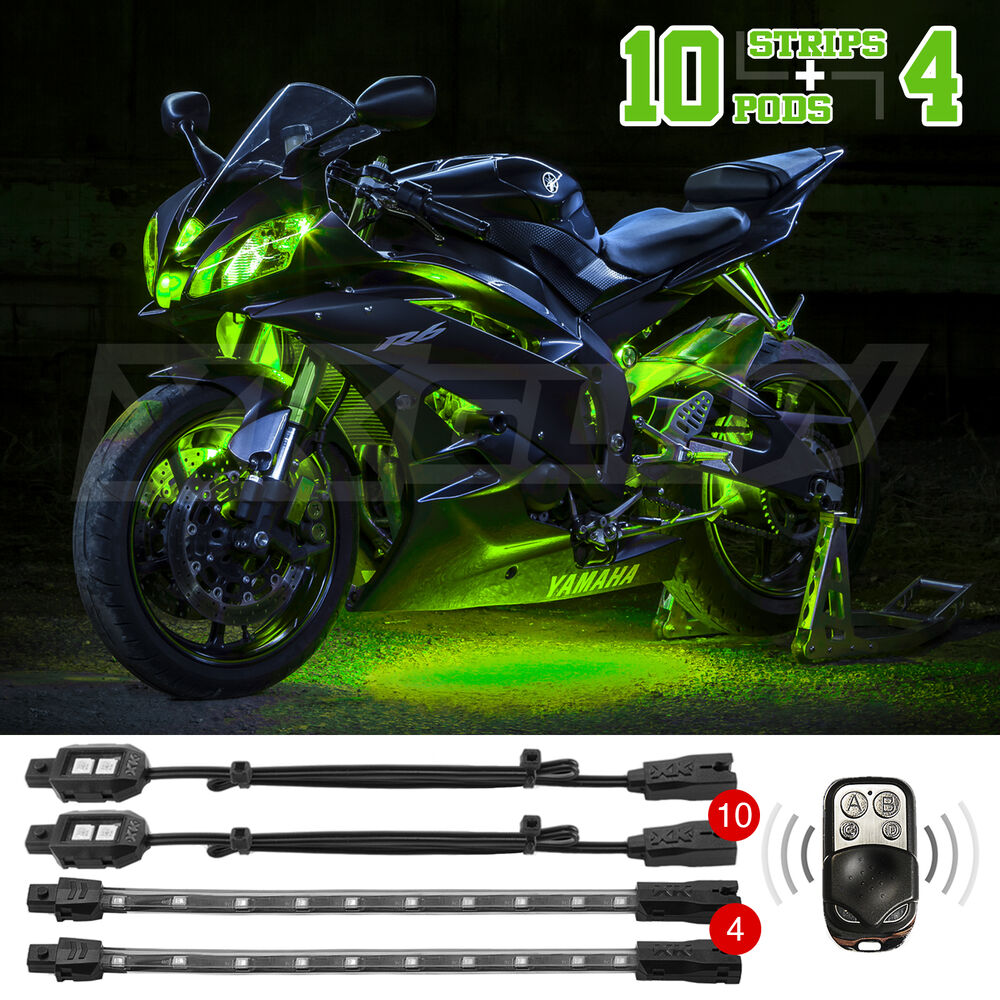 Light Controller For Motorcycles: 14pc LED Remote Control Motorcycle Accent Light Kit For