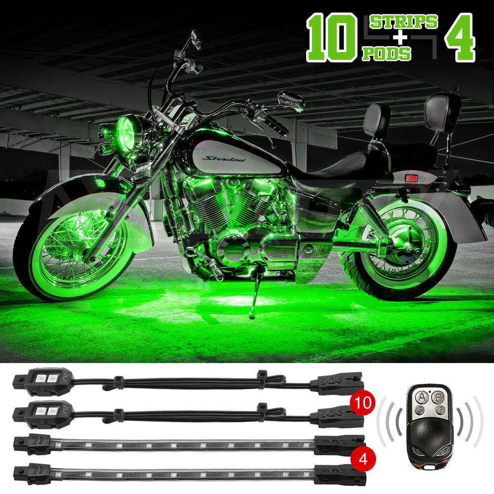 10 Pods 4 Strip Remote Control Motorcycle Accent Neon