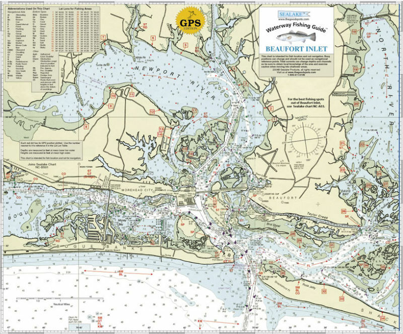 Sealake north carolina beaufort inlet fishing chart ebay for New river nc fishing
