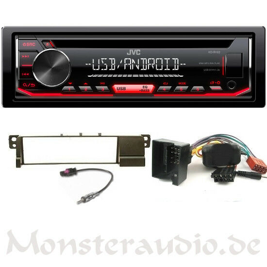 jvc autoradio bmw 3er e46 ab bj 01 mp3 usb radio lenkrad adapter blende ebay. Black Bedroom Furniture Sets. Home Design Ideas