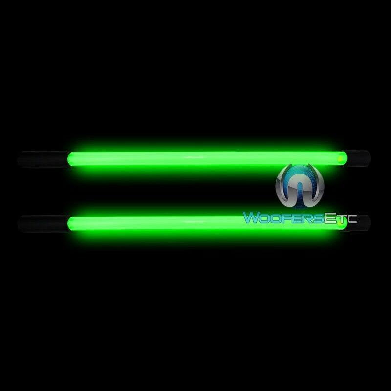 "2 NEON GREEN 10"" INCH BRIGHT 12 VOLT CAR LIGHT GLOW TUBE"