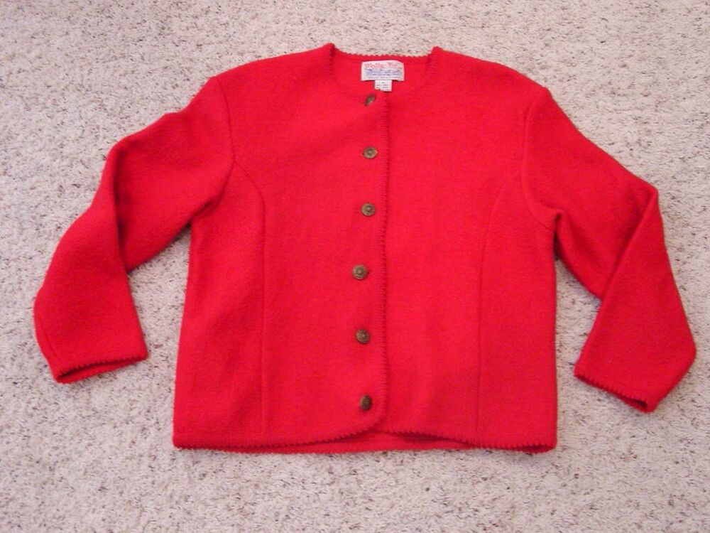 Vintage Tally-Ho Womens M Medium Red Wool Cardigan Sweater ...
