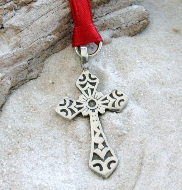 Religious Christmas Ornaments Religious Christmas Tree: CHRISTIAN CROSS JESUS Pewter Christmas ORNAMENT Holiday