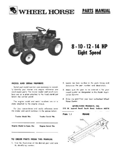 Wheel Horse Tractor Engines : Wheel horse tractor parts manual raider  hp ebay