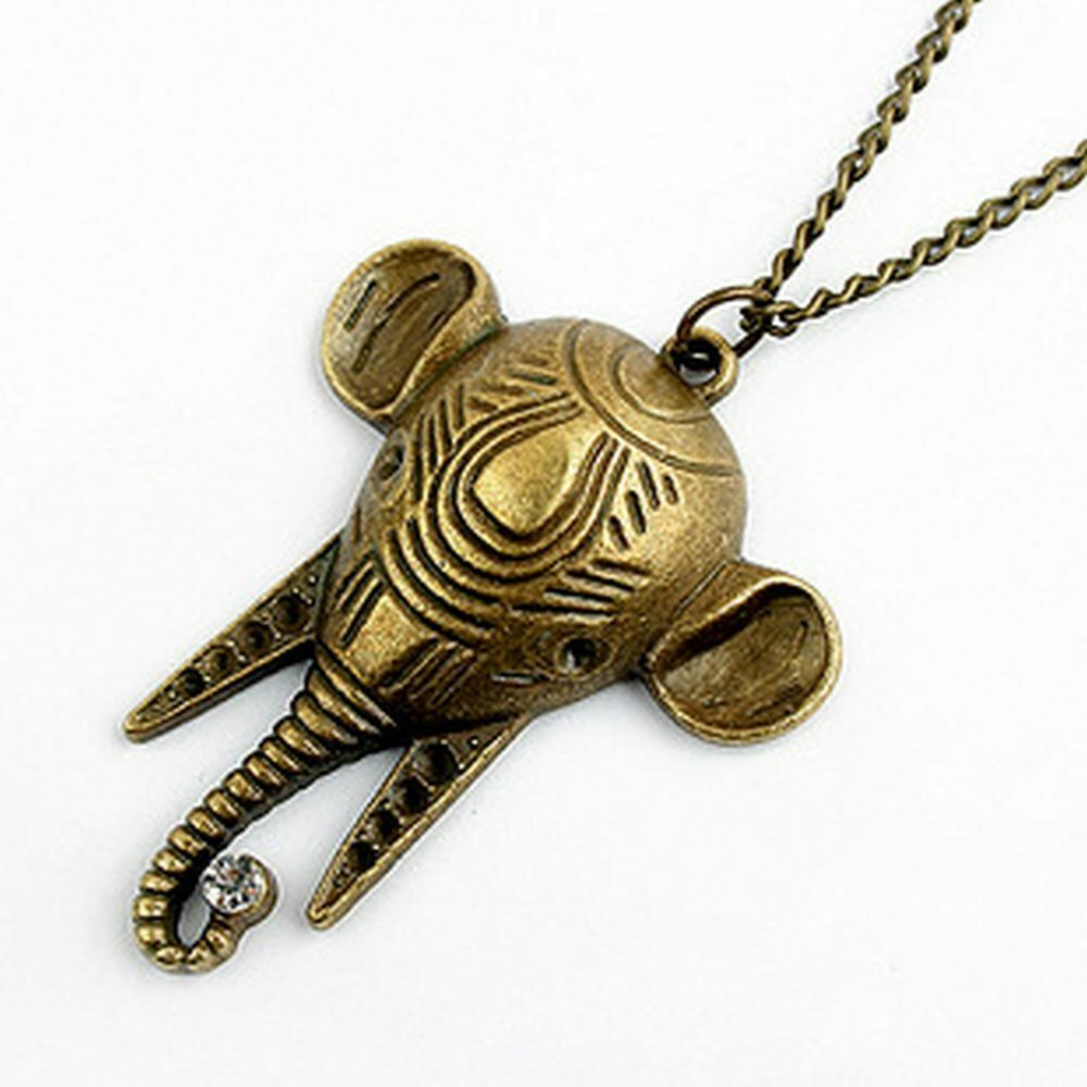 vintage art deco style bronze elephant head necklace ebay. Black Bedroom Furniture Sets. Home Design Ideas
