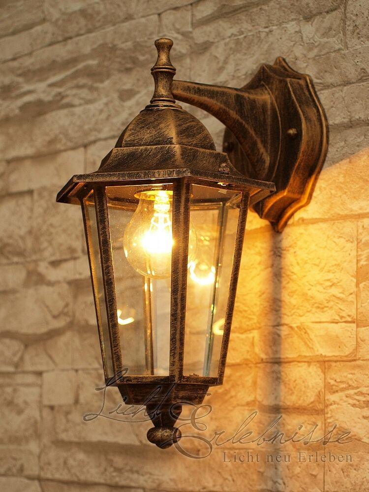 antik goldene wand aussenleuchte wandlampe 8232 aussenlampe gartenlampe hoflampe ebay. Black Bedroom Furniture Sets. Home Design Ideas