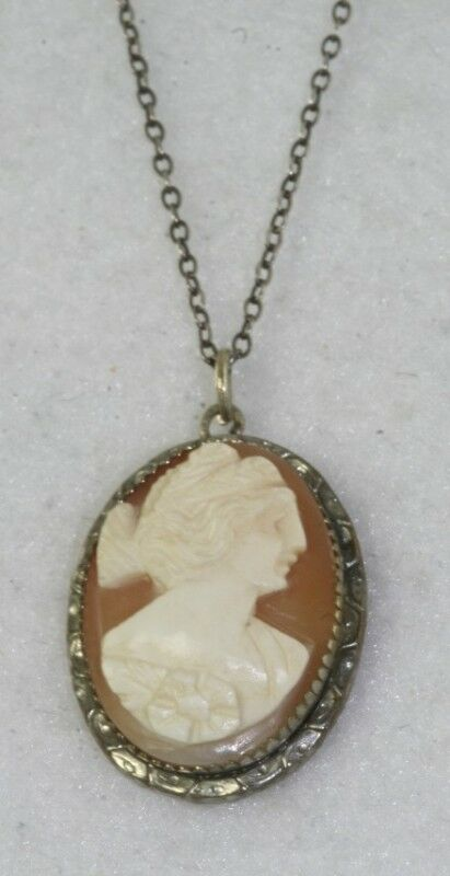 Antique 1920 S Sterling Silver Necklace Demeter Cameo Ebay