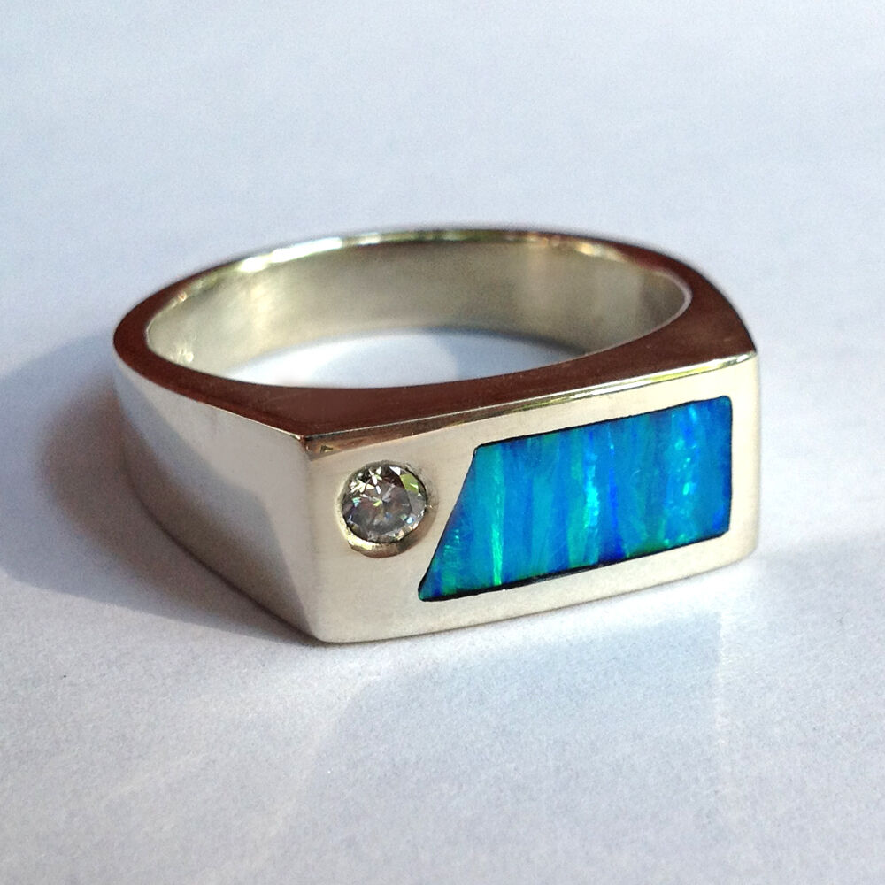 mens diamond ring with created opal in sterling silver ebay. Black Bedroom Furniture Sets. Home Design Ideas