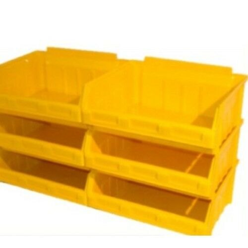 6 x size 5 ex large yellow storage stacking bins boxes ebay. Black Bedroom Furniture Sets. Home Design Ideas