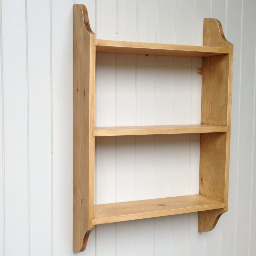 Wall Shelf 3 Tier In Pine For Kitchen, Bedroom, Hall