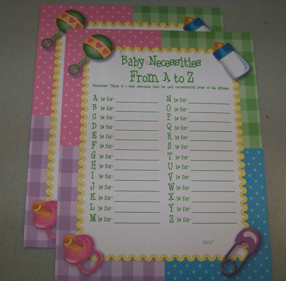 24 baby shower party ice breaker question game baby necessities a z