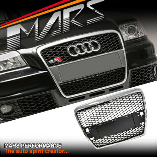chrome black rs style honey com front grill grille for audi a6 4f 05 11 ebay. Black Bedroom Furniture Sets. Home Design Ideas